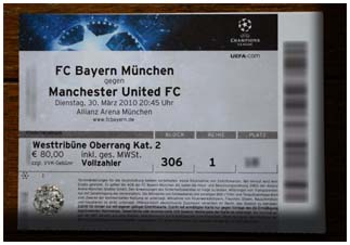 Bayern Munchen Champions League Ticket
