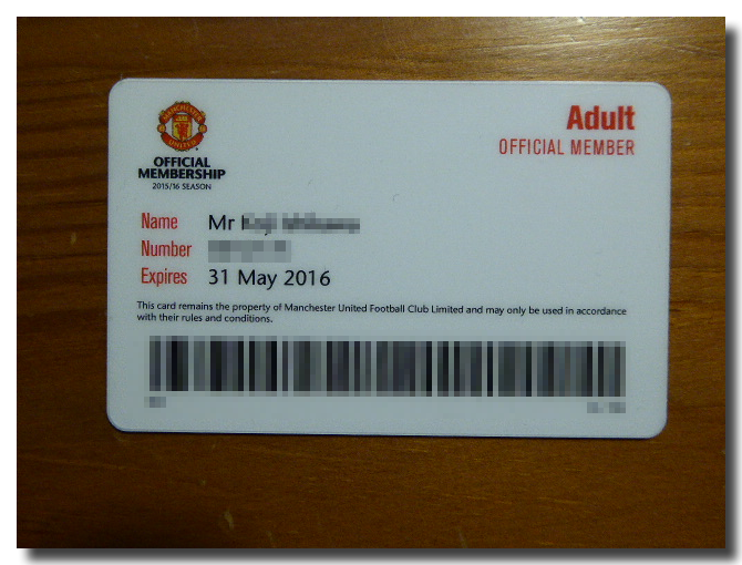 Manchester United menber card